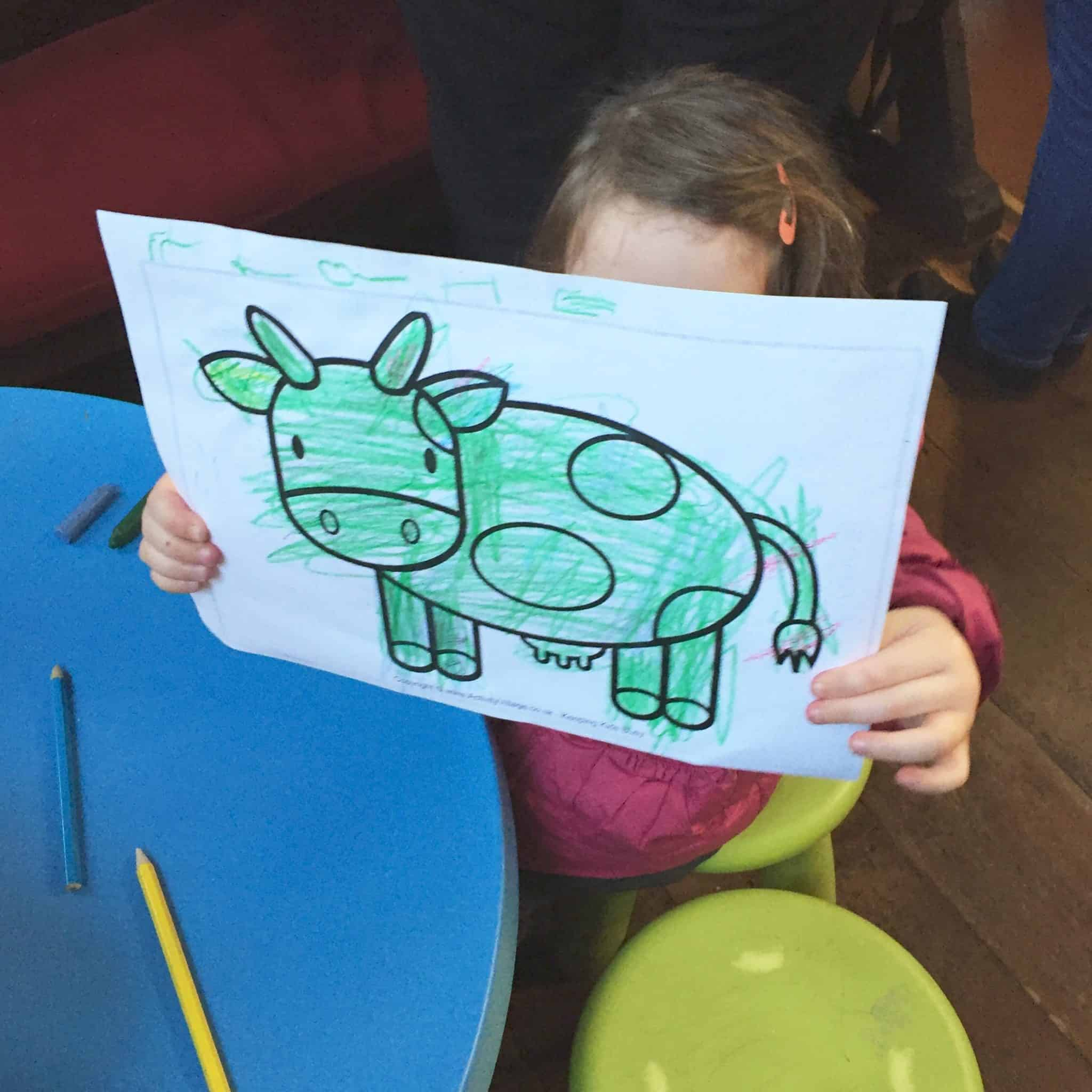 A green cow at the carol service