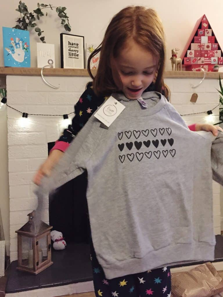 Ava loves her new TwoLittles sweatshirt