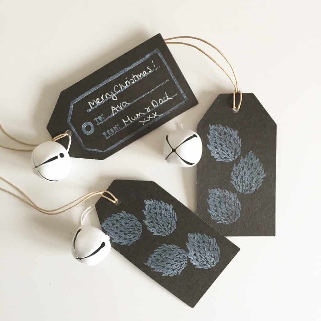 Home made black and white gift tags