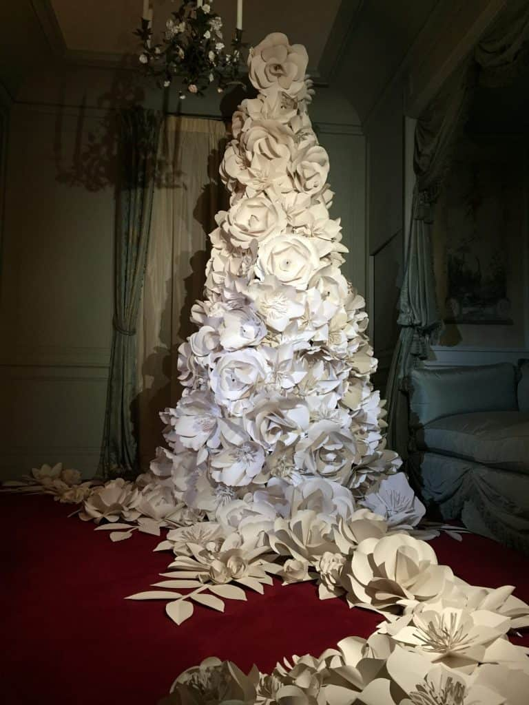 Paper flower Christmas tree at Waddesdon Manor
