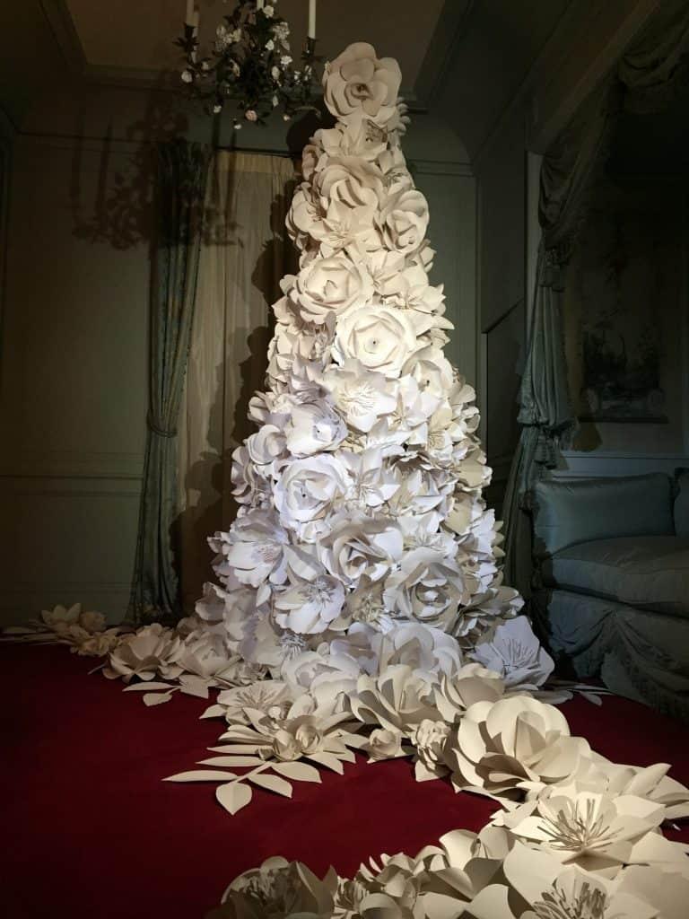 Paper flower Christmas tree at Waddesdon Manor