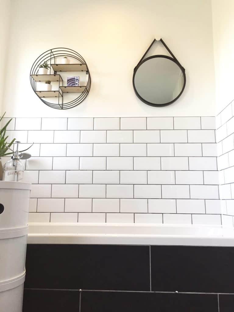 White Metro Tiles And Grey Grout Circular Shelveirror