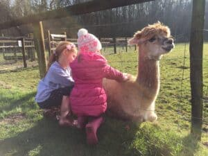 Ava and Thea with an Alpaca