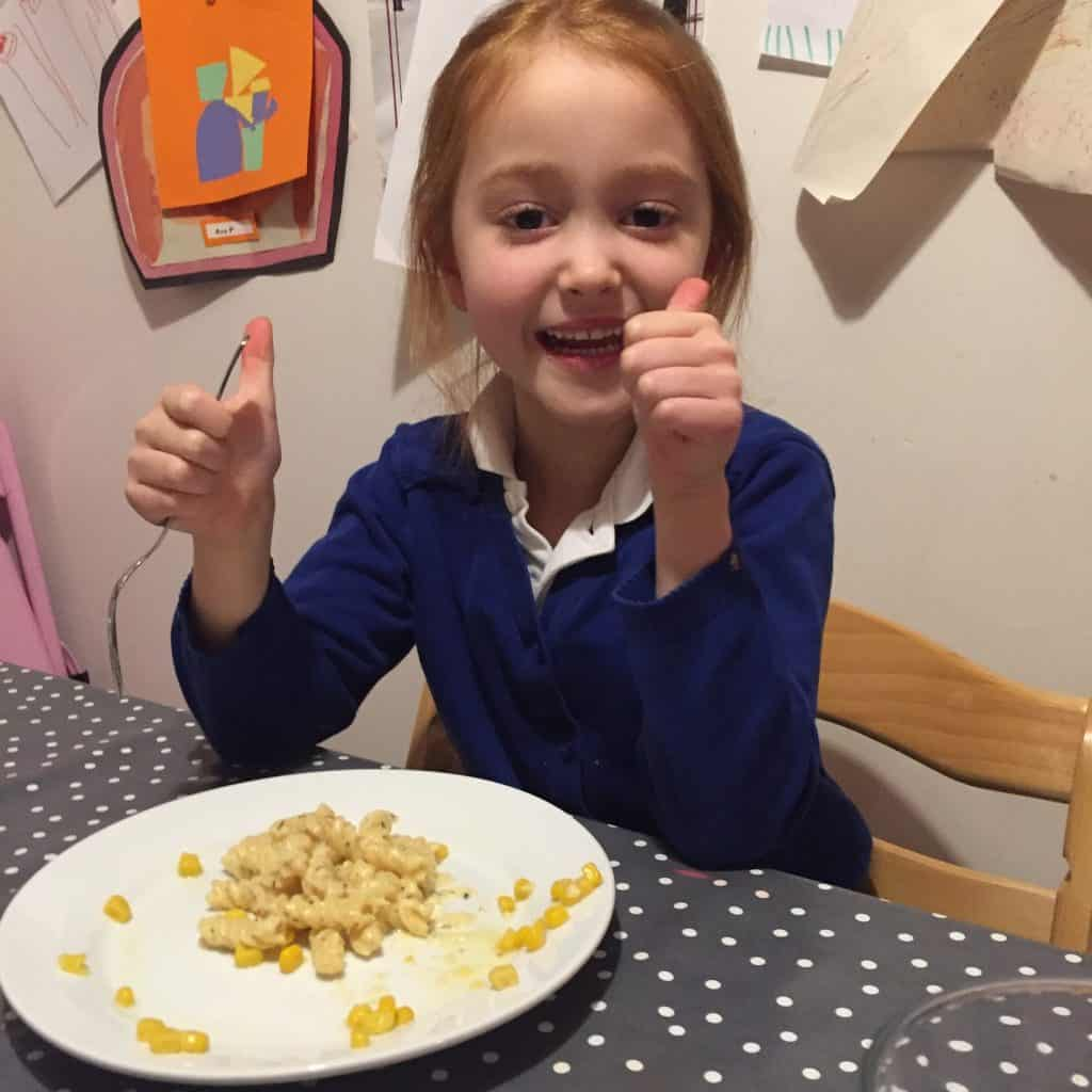 Ava gives the pressure cooker macaroni cheese the double thumbs up