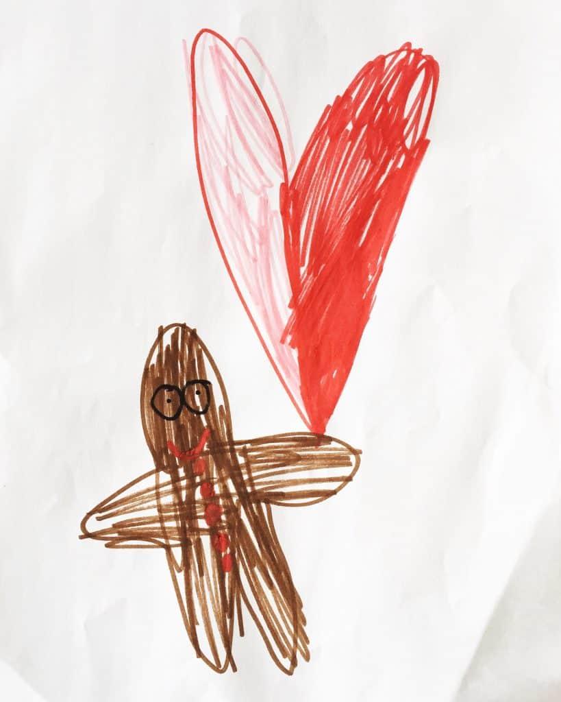 Ava's gingerbreadman holding a heart