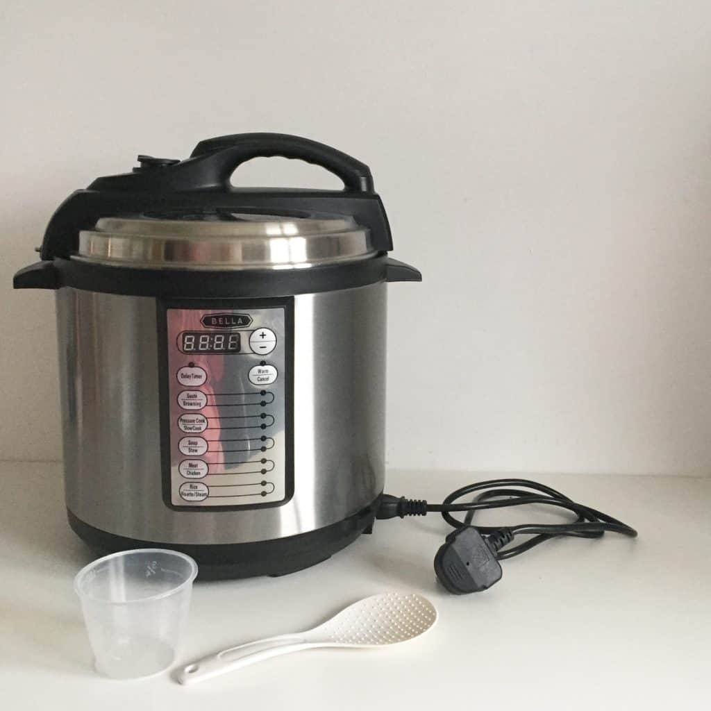 Bella Electric Pressure Cooker and utensils