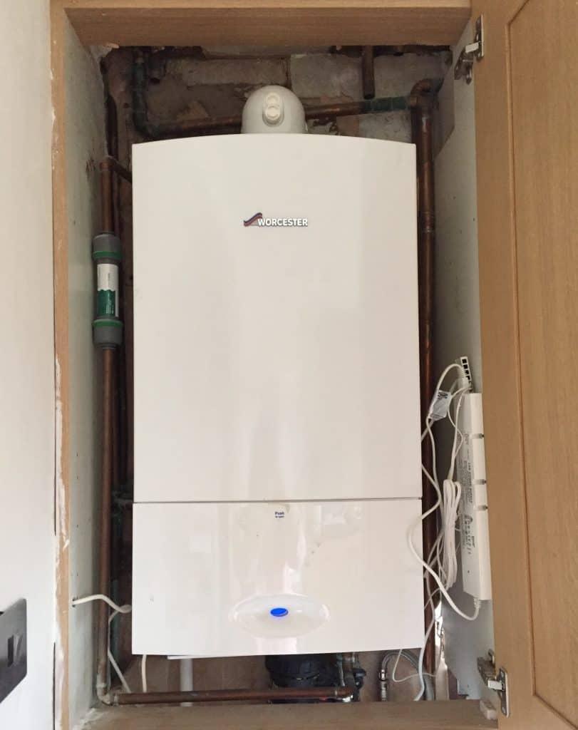 Boiler in a cupboard