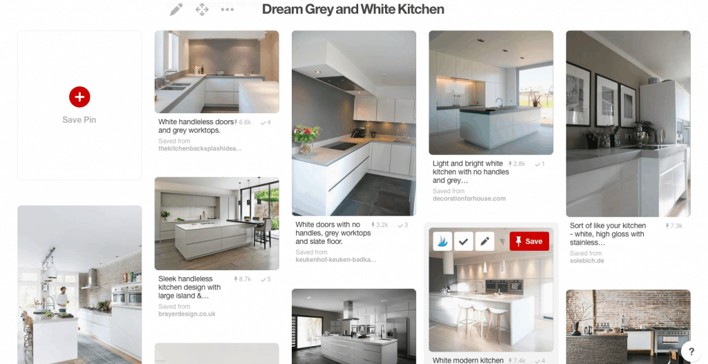 Dream Grey and White Kitchen Pinterest Board