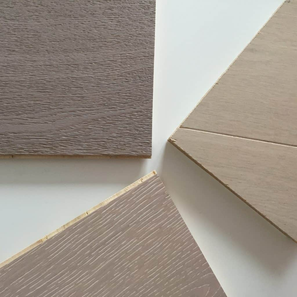 Engineered wood floor samples