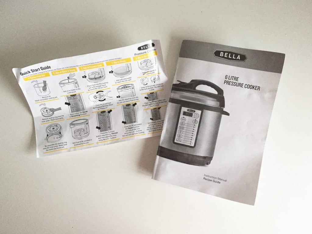 Quick start and instructions for the Bella Electric Pressure Cooker