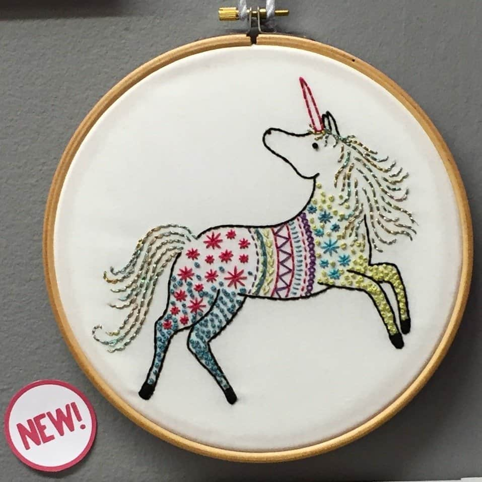Unicorn embroidery from Hawthorne Handmade