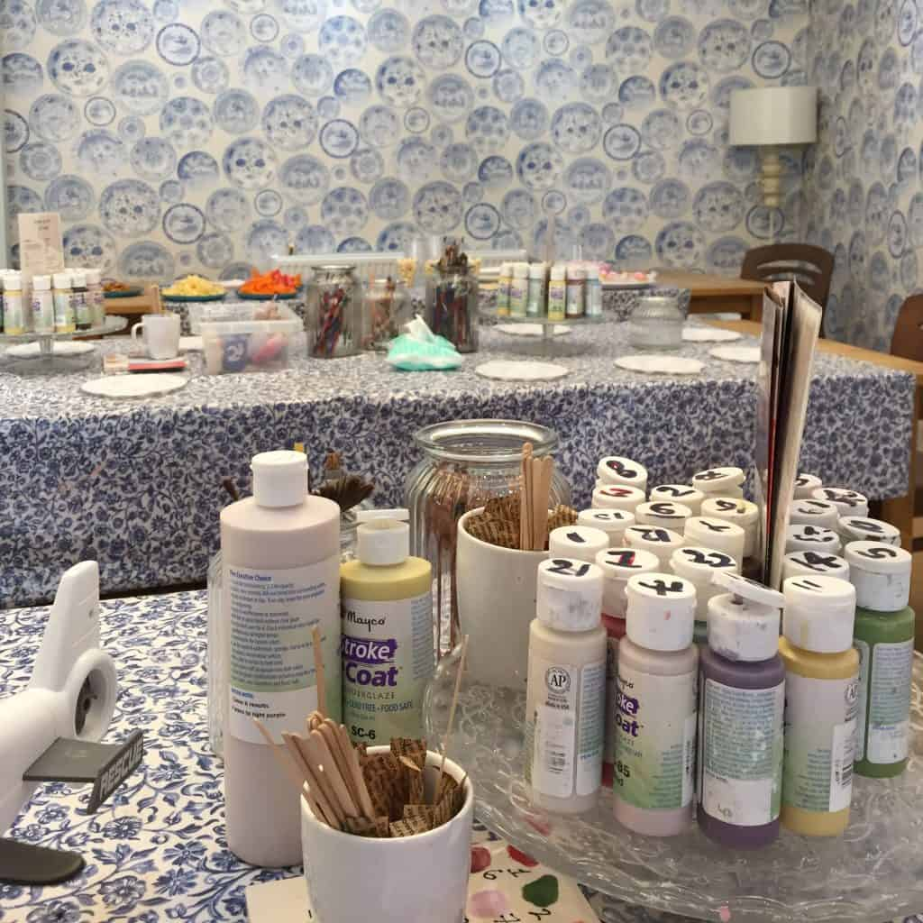 All set up for Pottery Painting at Kilning Me Softly
