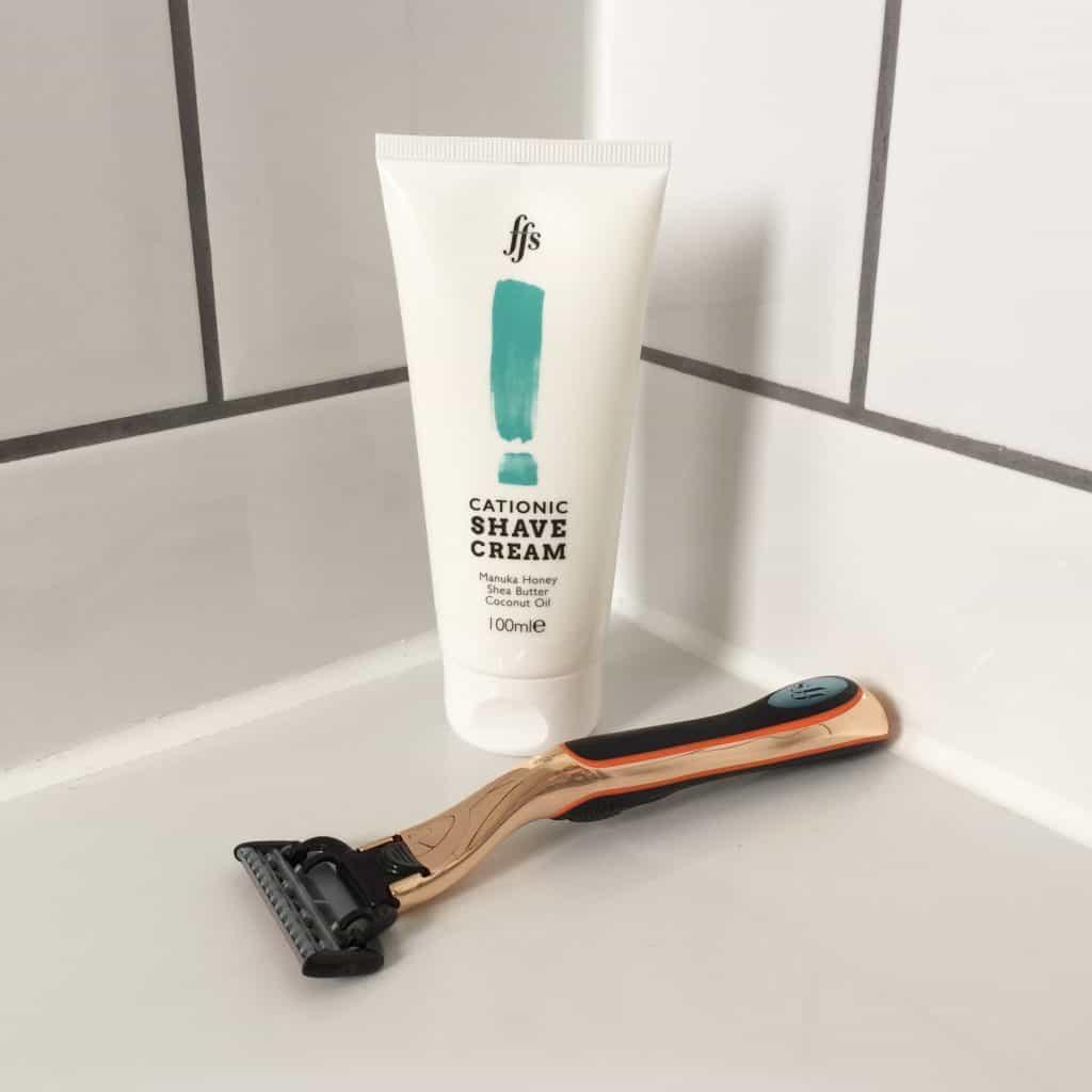 Friction Free Shaving Razor and Cationic Shave Cream