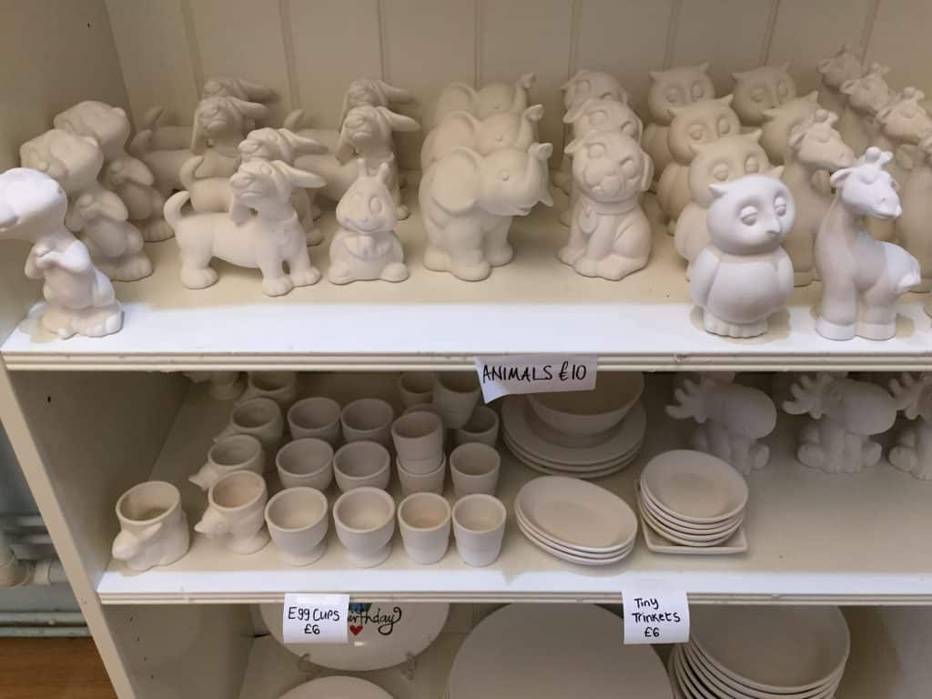 Pottery animals ready to paint