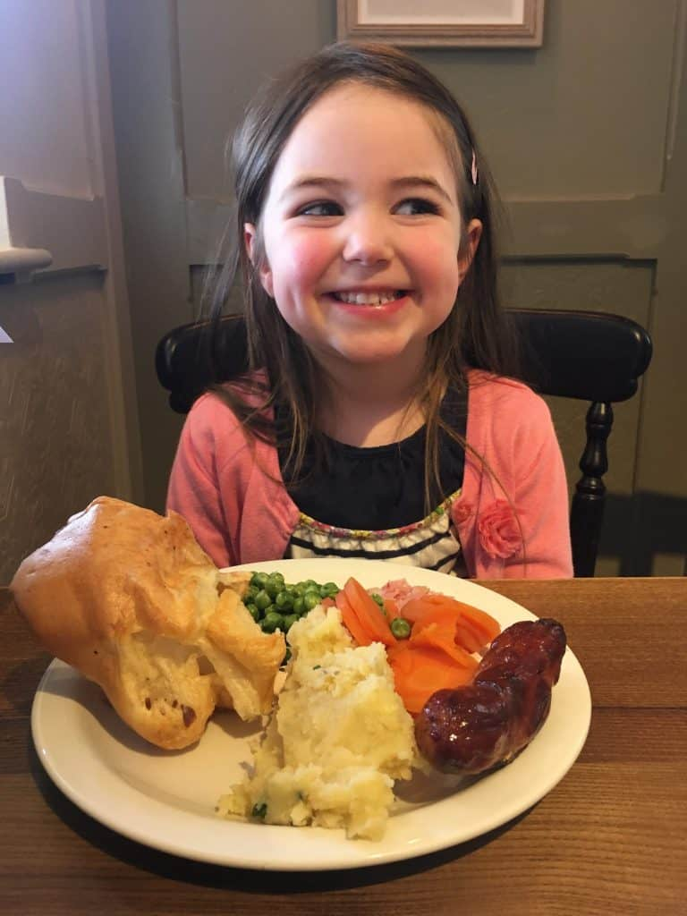 Thea and her roast dinner at the Toby Carvery Northampton