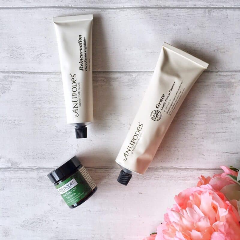 Antipodes Grace Gentle Cream Cleanser, Reincarnation Pure Facial Exfoliator and Kiwi Seed Oil Eye Cream