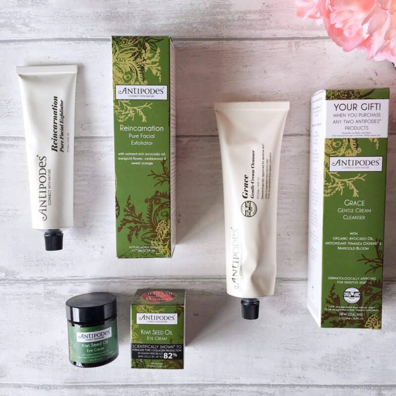 Antipodes Organic Skincare Grace Gentle Cream Cleanser, Reincarnation Pure Facial Exfoliator and Kiwi Seed Oil Eye Cream