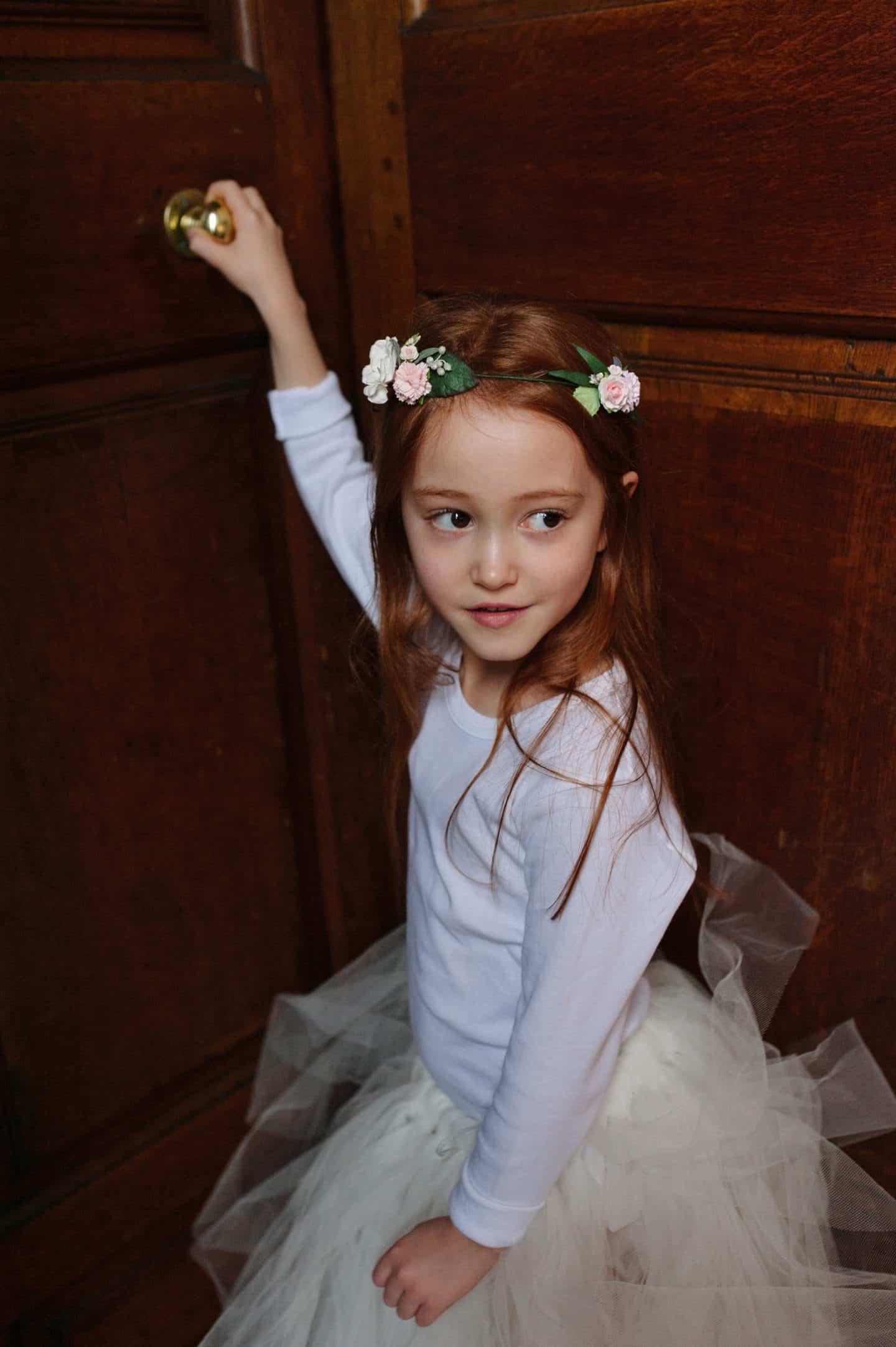 Ava wearing Mimosa Bridal Tulle Tutu and Floral Circlet Flower Crown