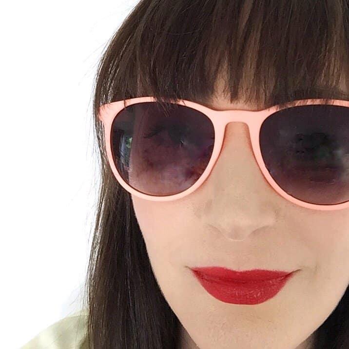 Becky Pink wearing Living Nature Lipstick