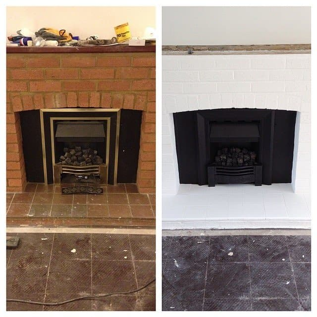 How to paint a fireplace and fire - Before and after painting the fireplace