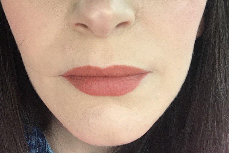 One coat of NATOrigin Organic Lipstick after blotting with tissue