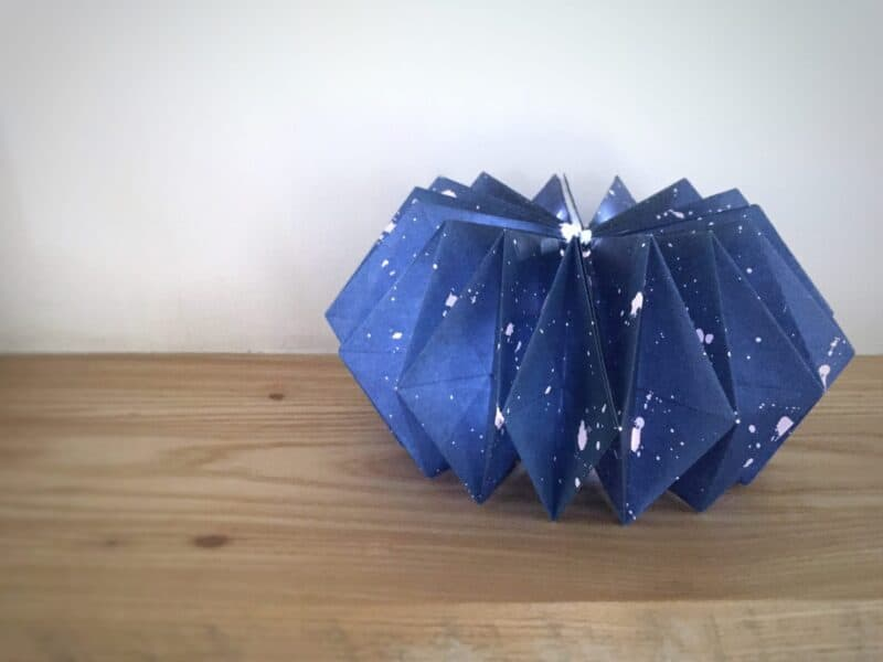 Origami lampshade filled with fairy lights