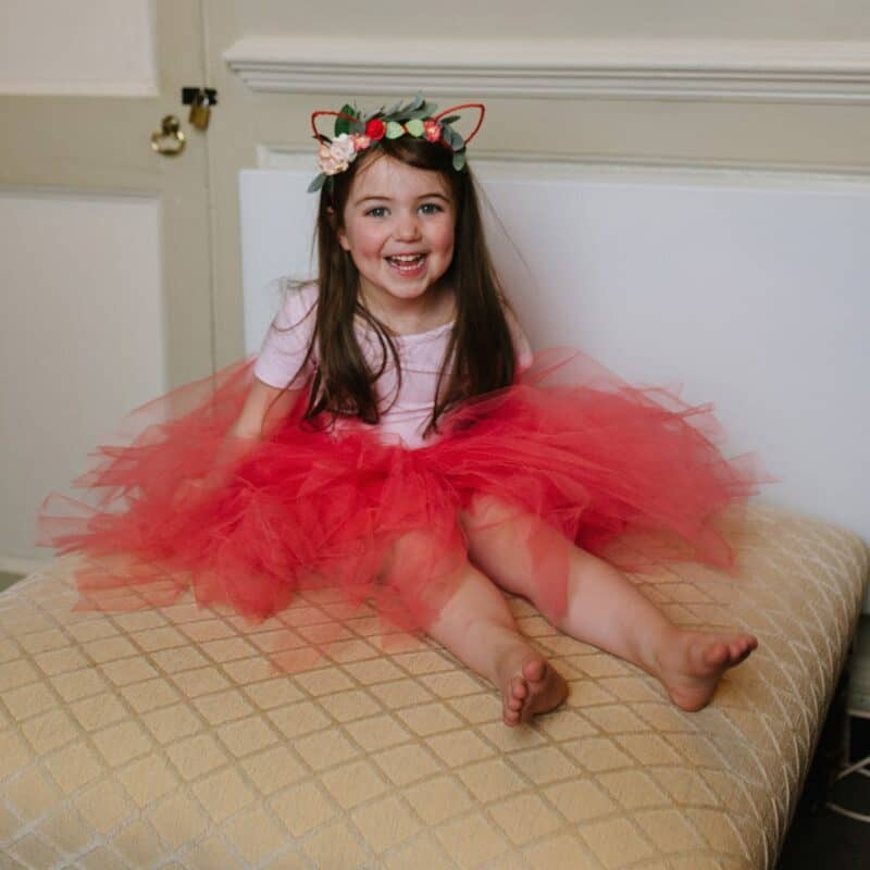 Thea wearing Mimosa Bridal Floral Kitty Ears and Tulle Tutu Skirt
