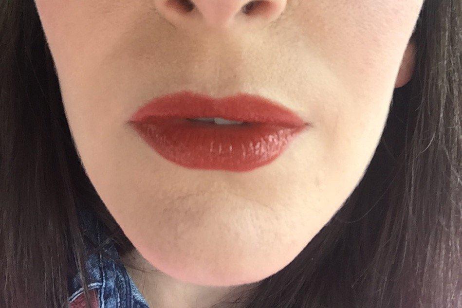 Two coats of NATOrigin Organic Lipstick