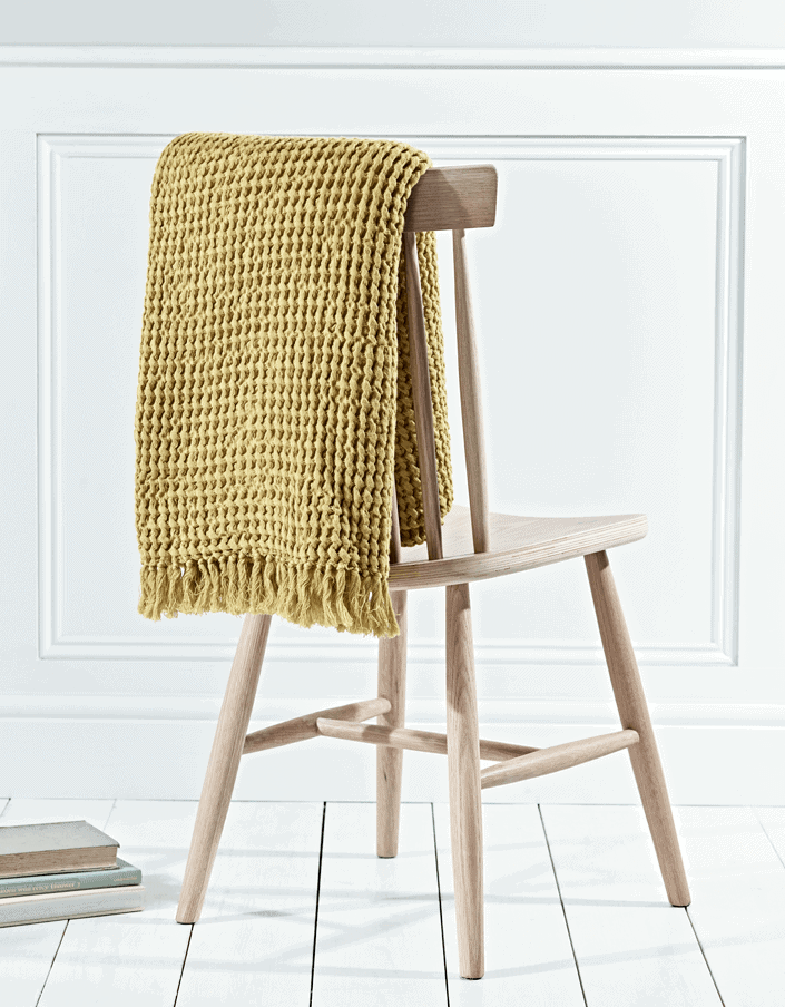 Cox and Cox Mustard Cotton Waffle Throw