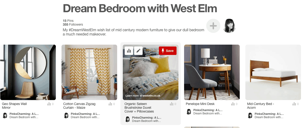 Dream Bedroom with West Elm Pinterest board