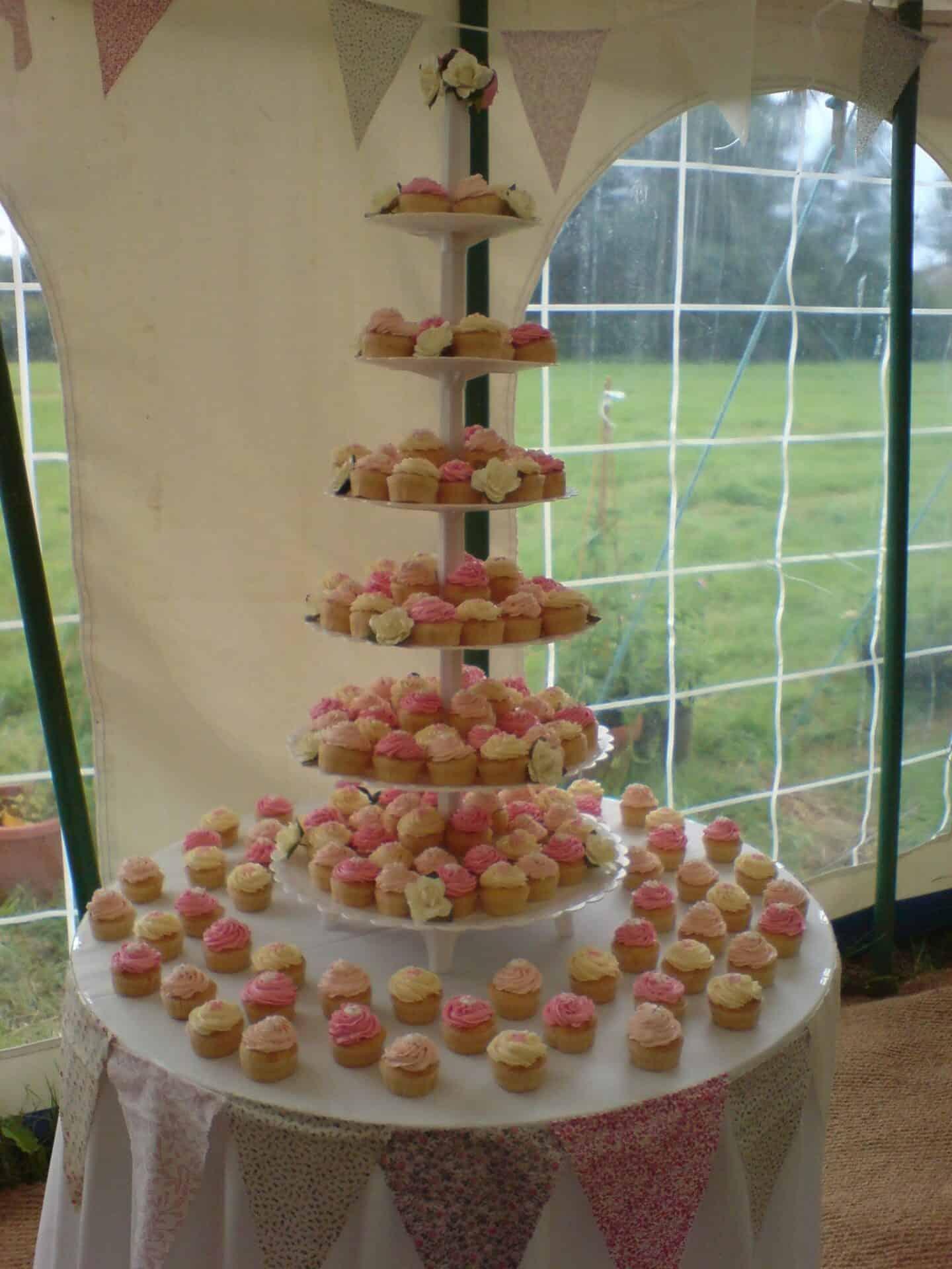 Pink and cream cupcake wedding cake