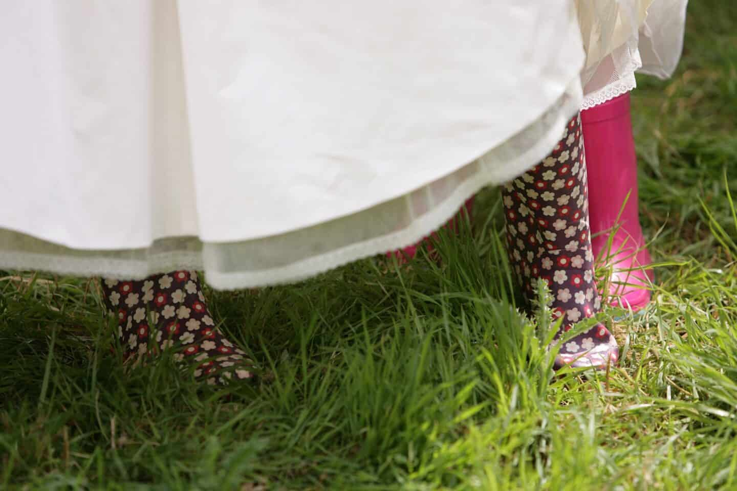 Wellies and a wedding dress