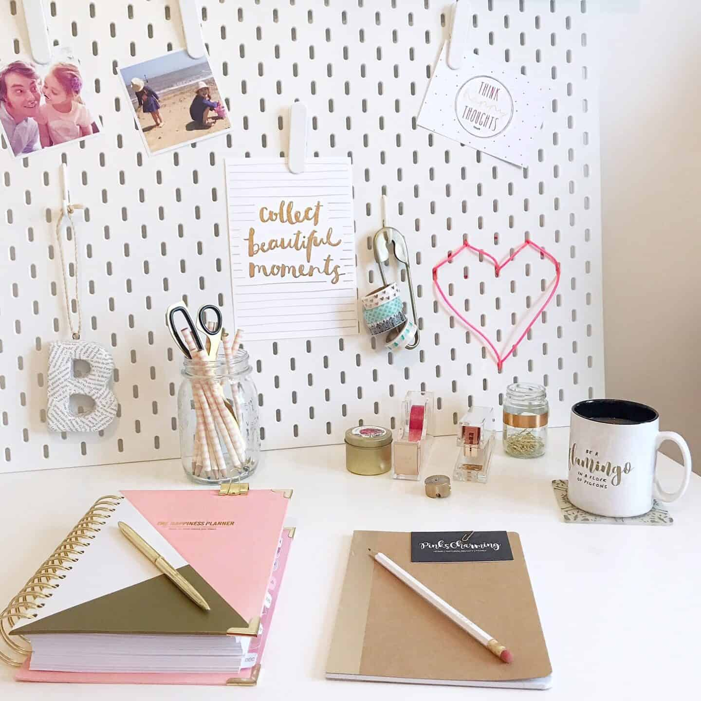 My desk with pink and gold desk accessories