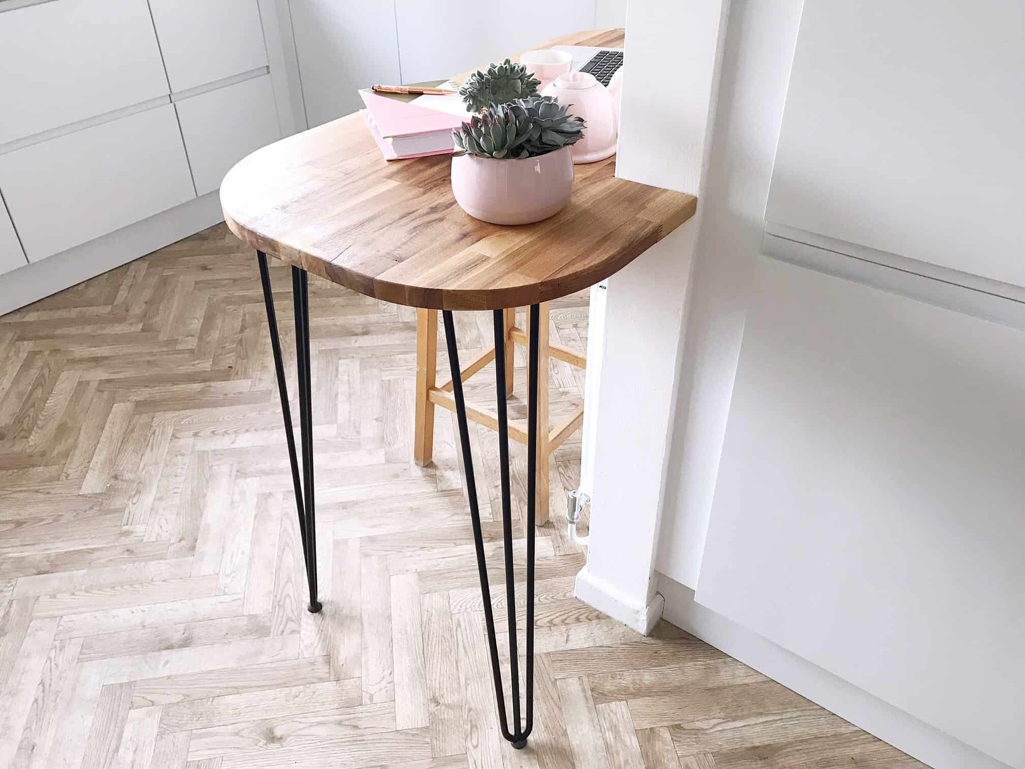 Oak Breakfast Bar with Hairpin Legs