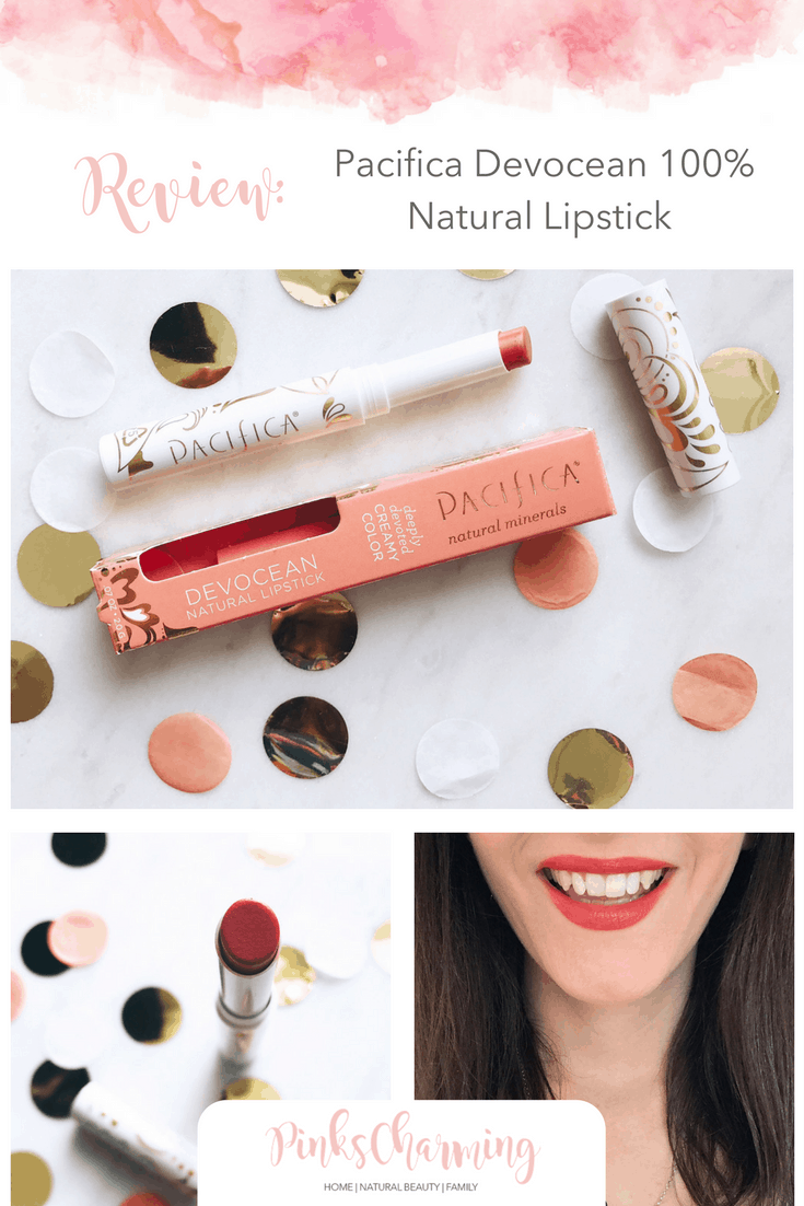 Pacifica Devocean 100% Natural Lipstick Review. Find out how well this all natural lipstick performs. It's 100% vegan, natural, and not tested on animals. Can a chemical-free lipstick work as well as a conventional one?