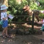 Ava and Thea meet a dinosaur