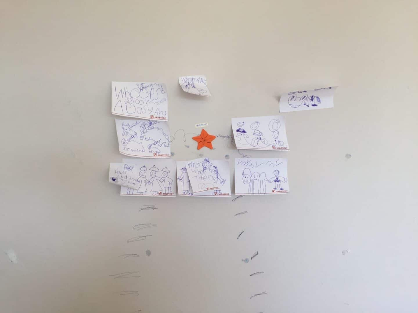 Ava's wall with posits and scribbles