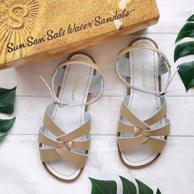 Gold Original Salt-Water Sandals with box
