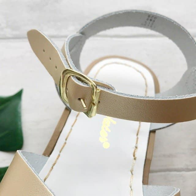 Gold buckle on Gold Original Salt-Water Sandals