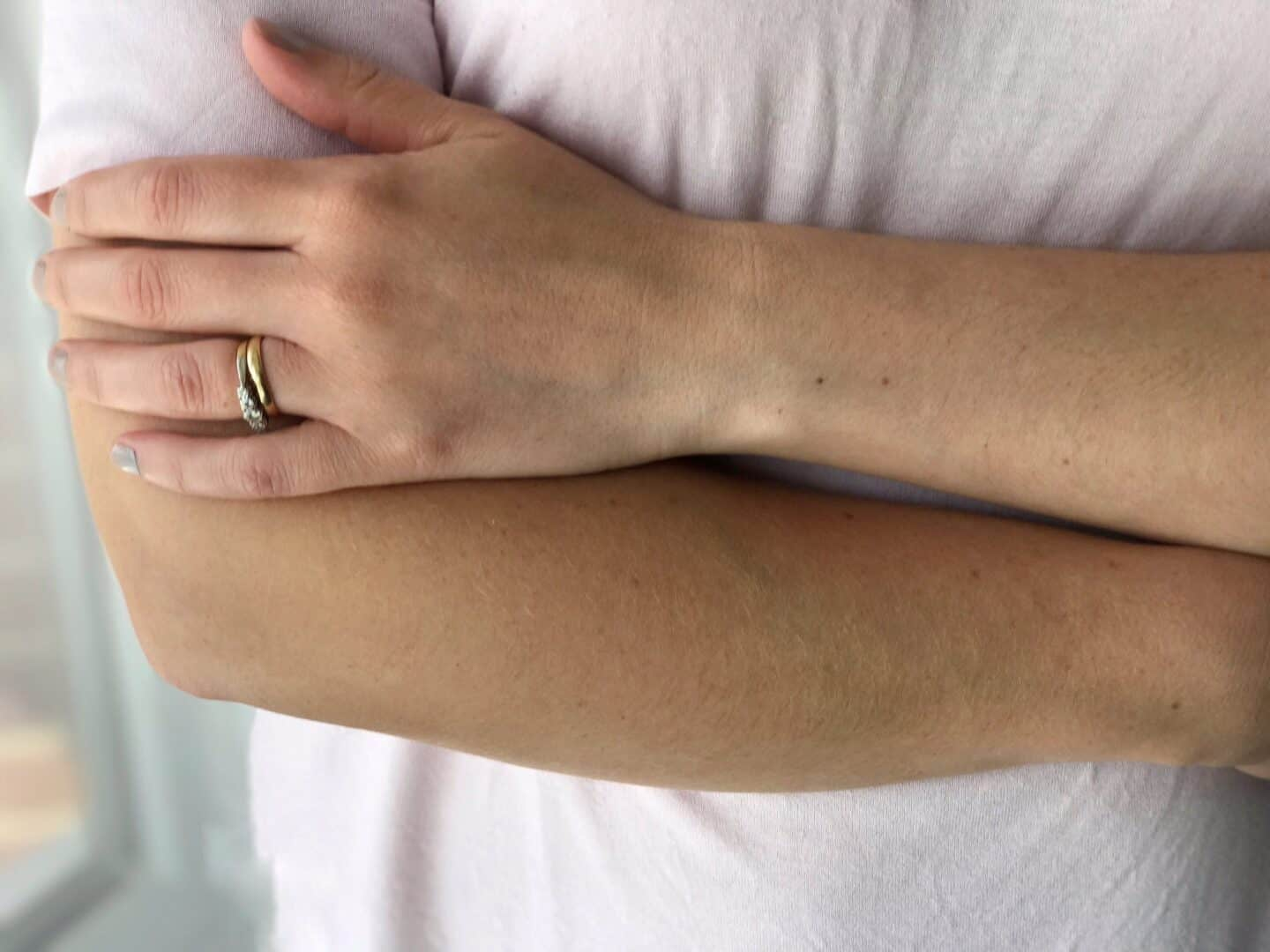 One arm with TanOrganic Self Tan Oil, one without