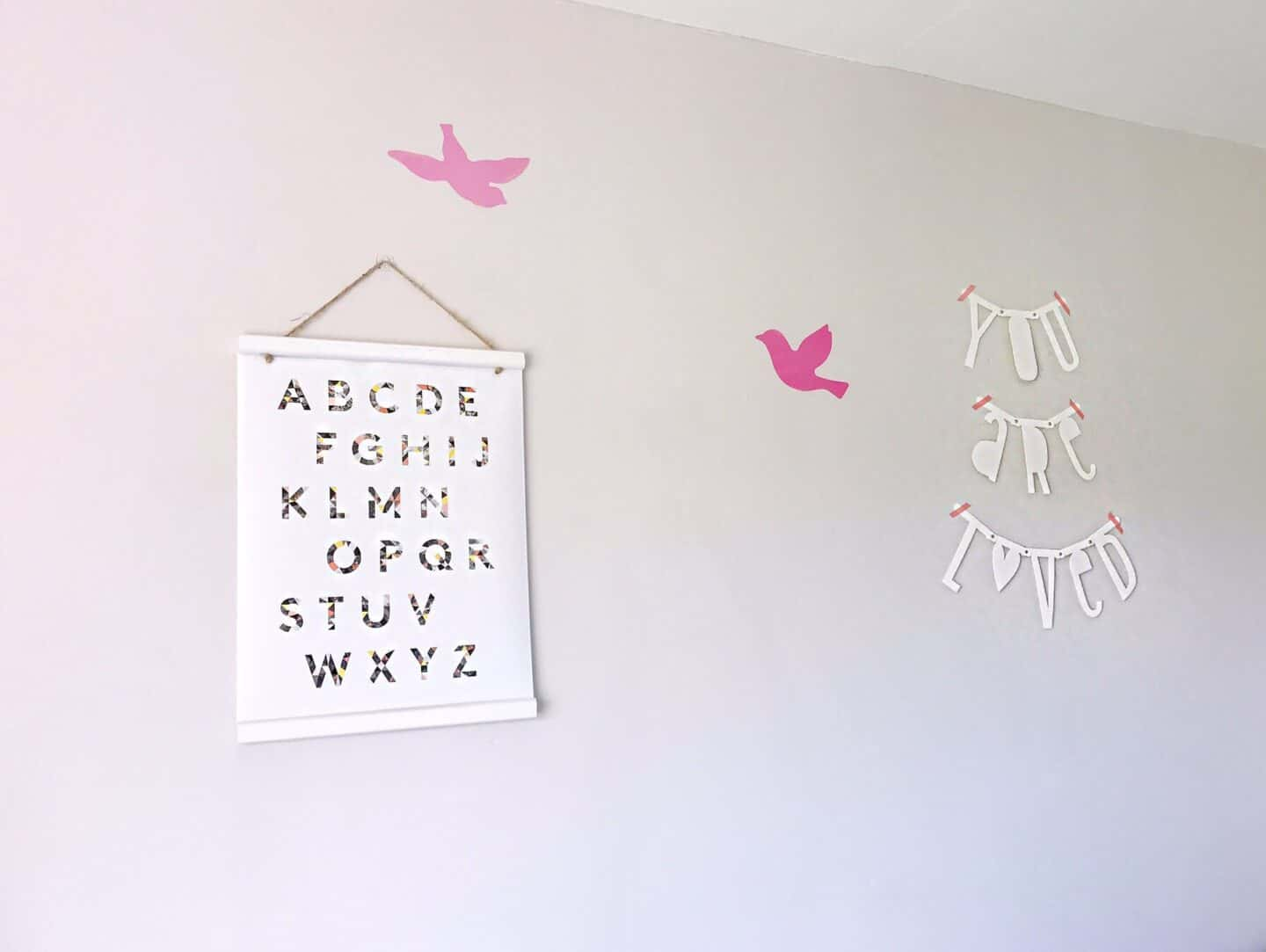 Alphabet poster and pink bird stikers