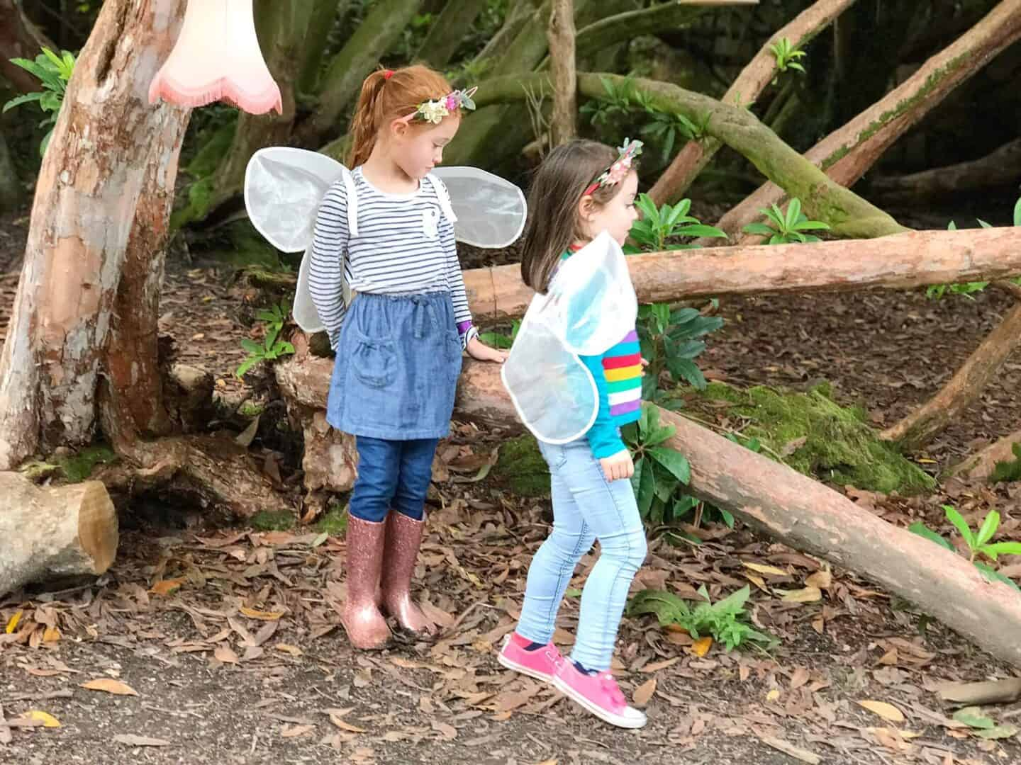 Ava and Thea dressed as fairies at the Lost Gardens of Heligan