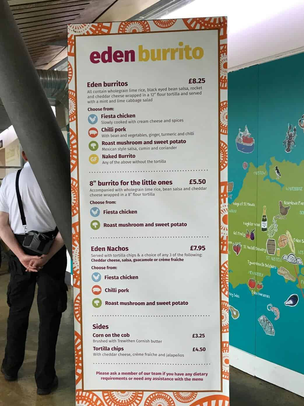 Burrito menu at the Eden Project