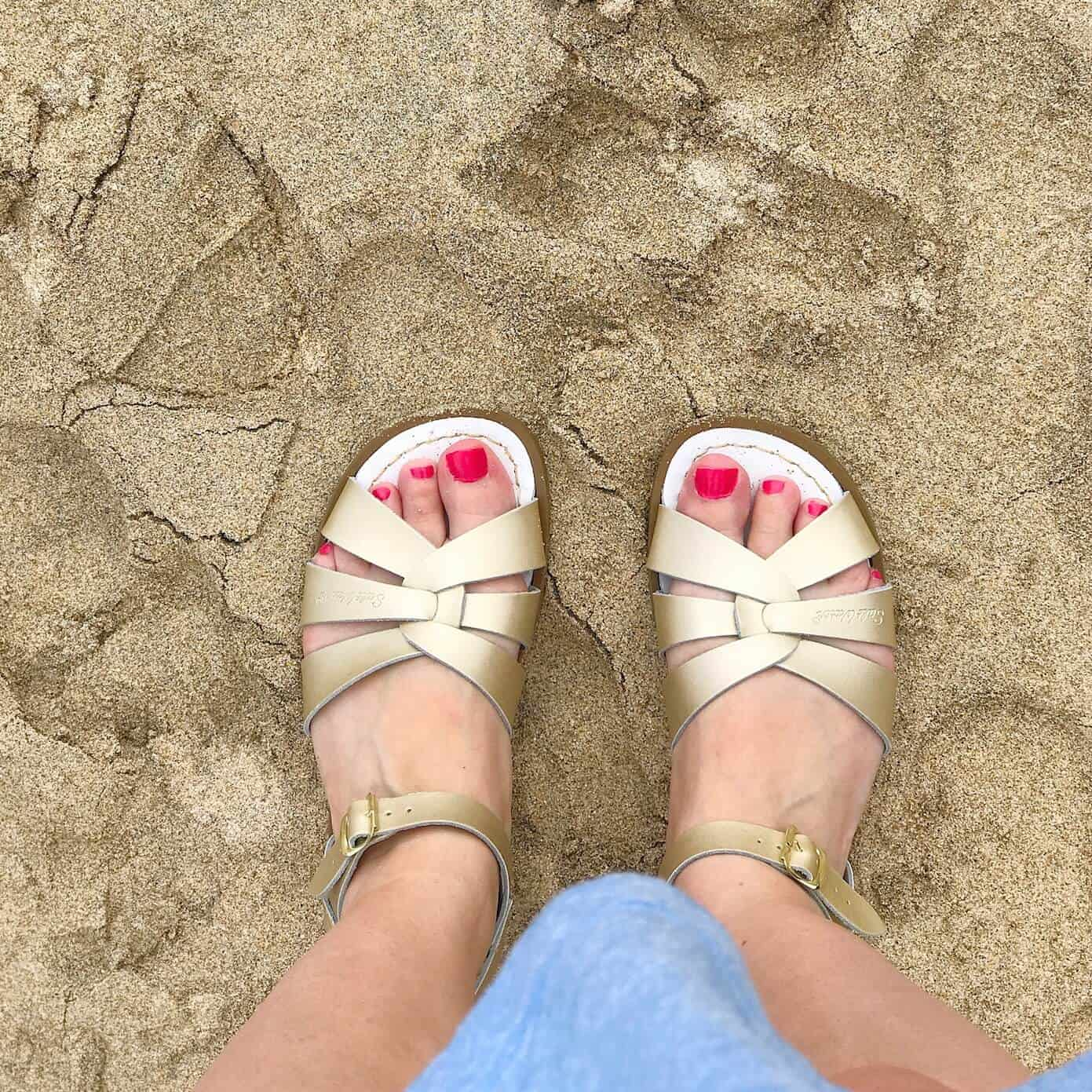 Original Gold Salt-Water Sandals on sand