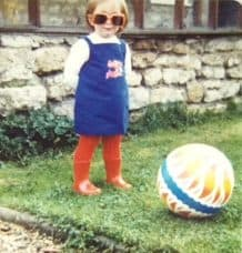 Becky in the Eighties with a ball