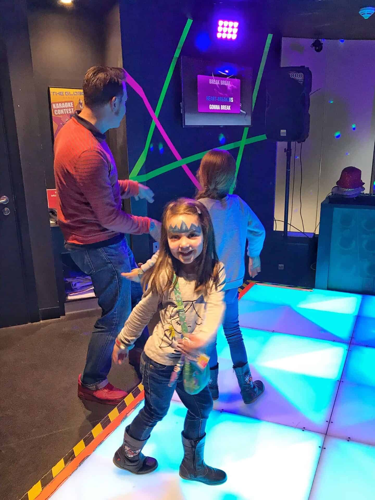 Dancing at the dance club at Kidzania