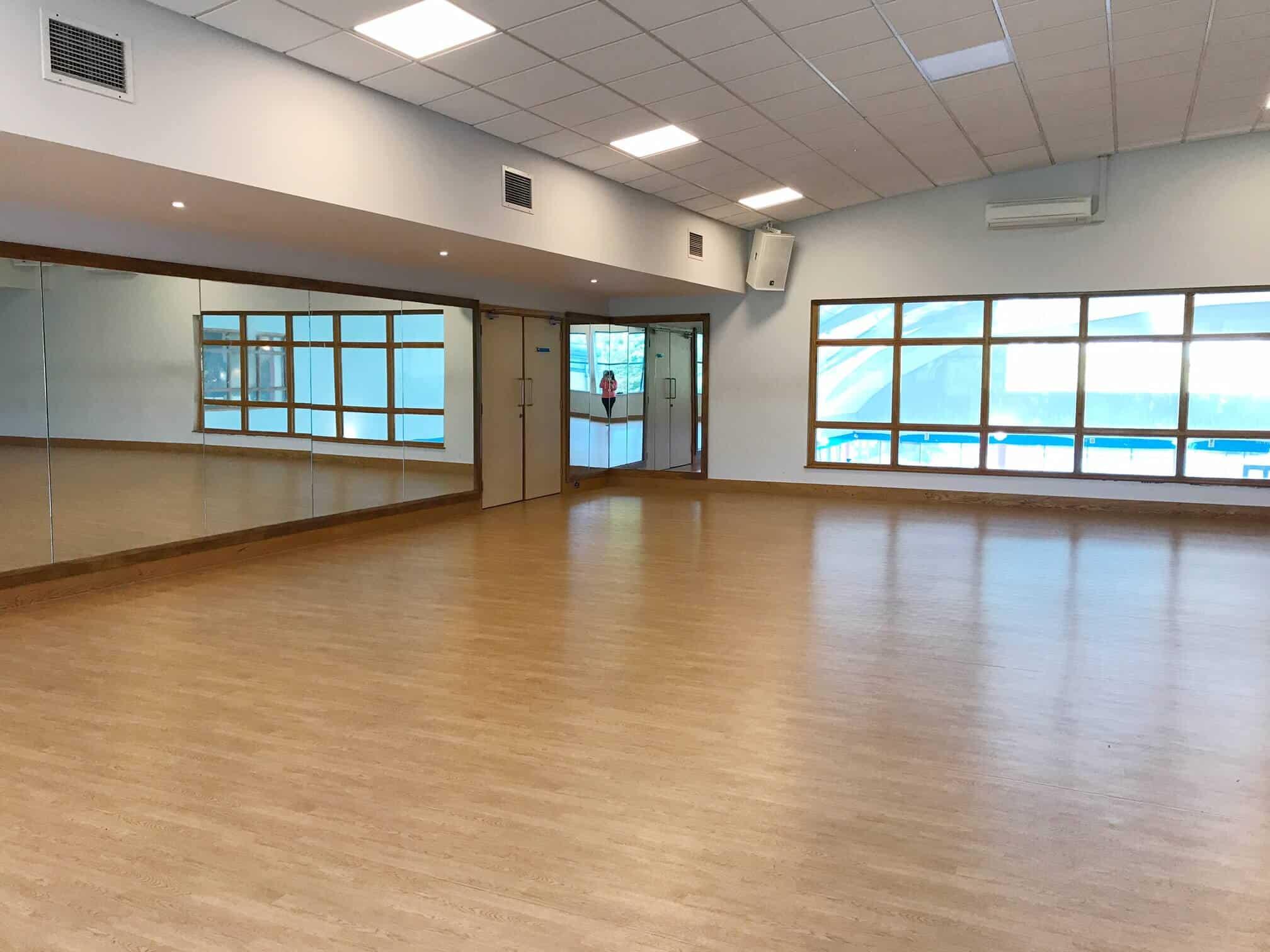 Fitness studio over loking the pool at David Lloyd in Milton Keynes