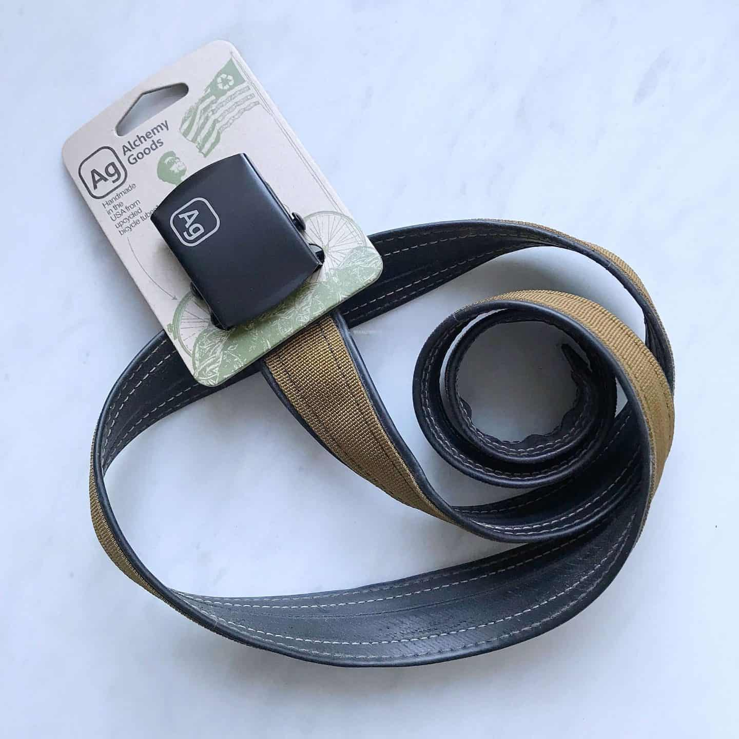 Alchemy Goods recycled black and brown belt from Uncommon Goods