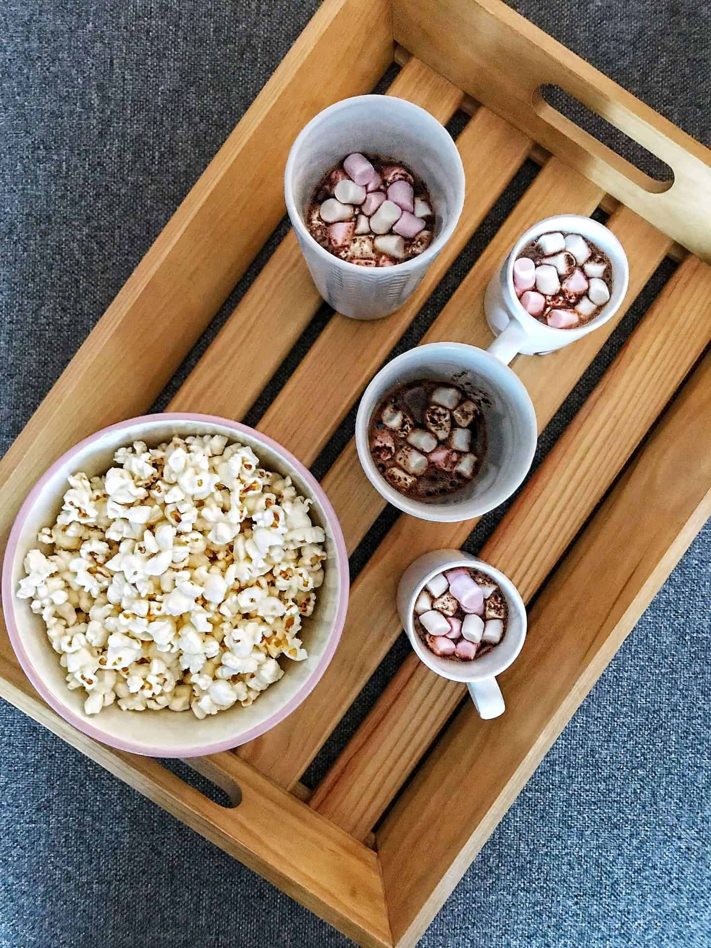 How To Create a Hygge Haven with popcorn and hot chocolate