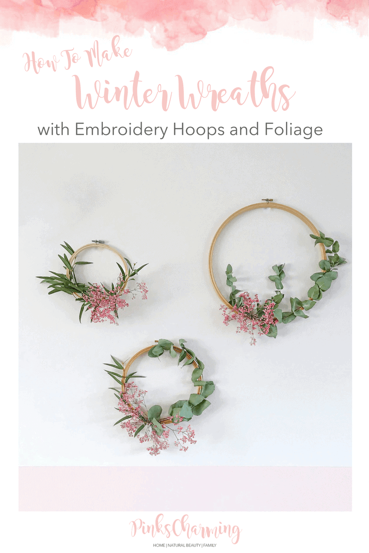 How To Make Winter Wreaths with Embroidery Hoops and Foliage: an easy to follow step by step wreath tutorial.
